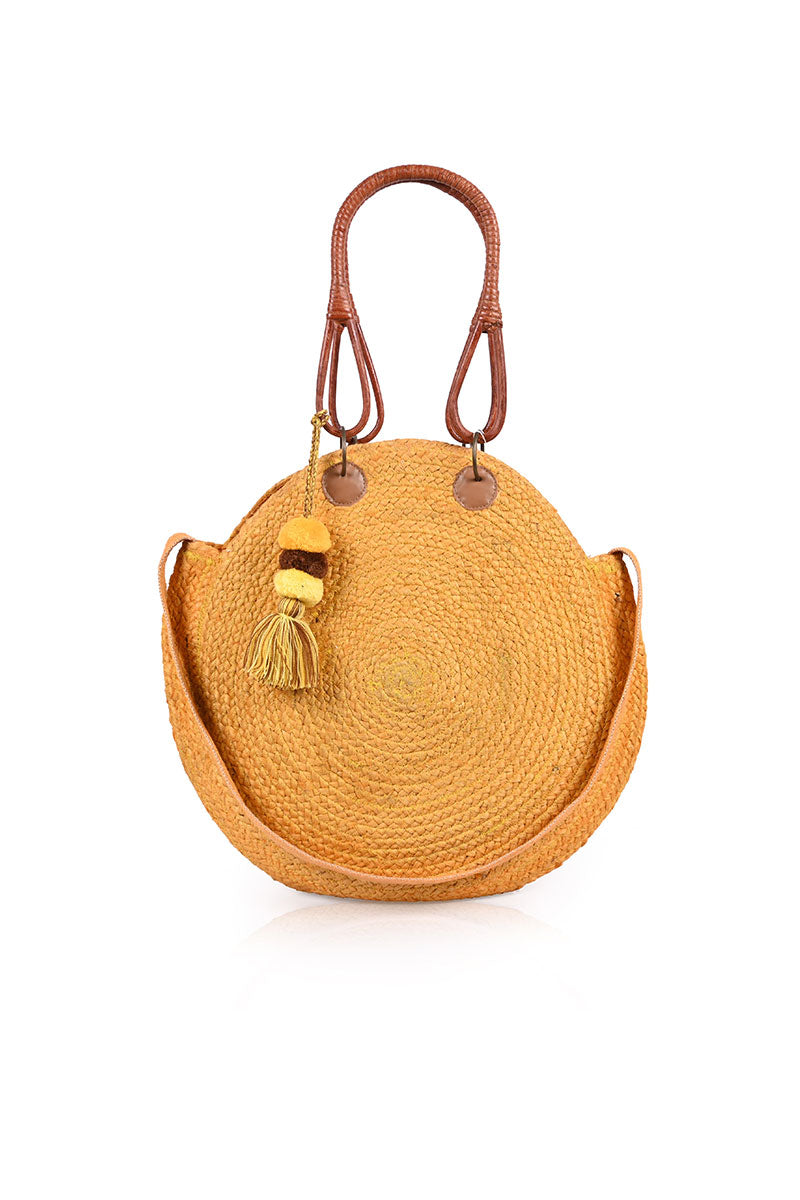 SunFlower Yellow Round Jute Bag with Cane Handles