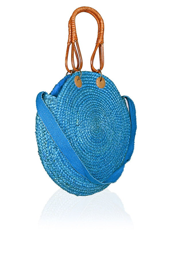 Blue Sky Round Jute Bag with Cane Handles