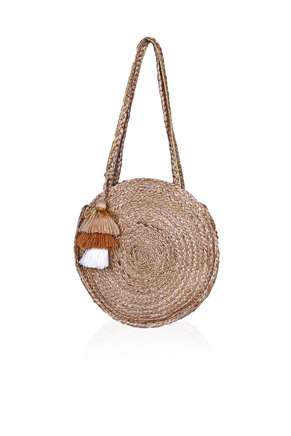 Golden Days Round Jute Bucket Bag