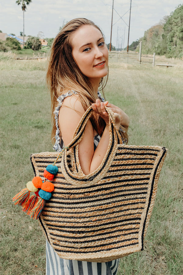Raven Stripe Eco-Friendly Tote With Pompom Tassels