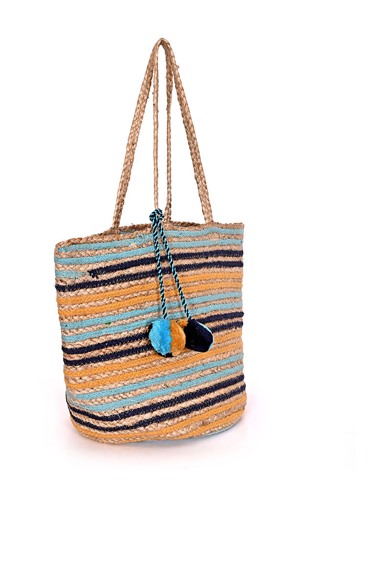 Sunset Stripe Woven Tote Bag