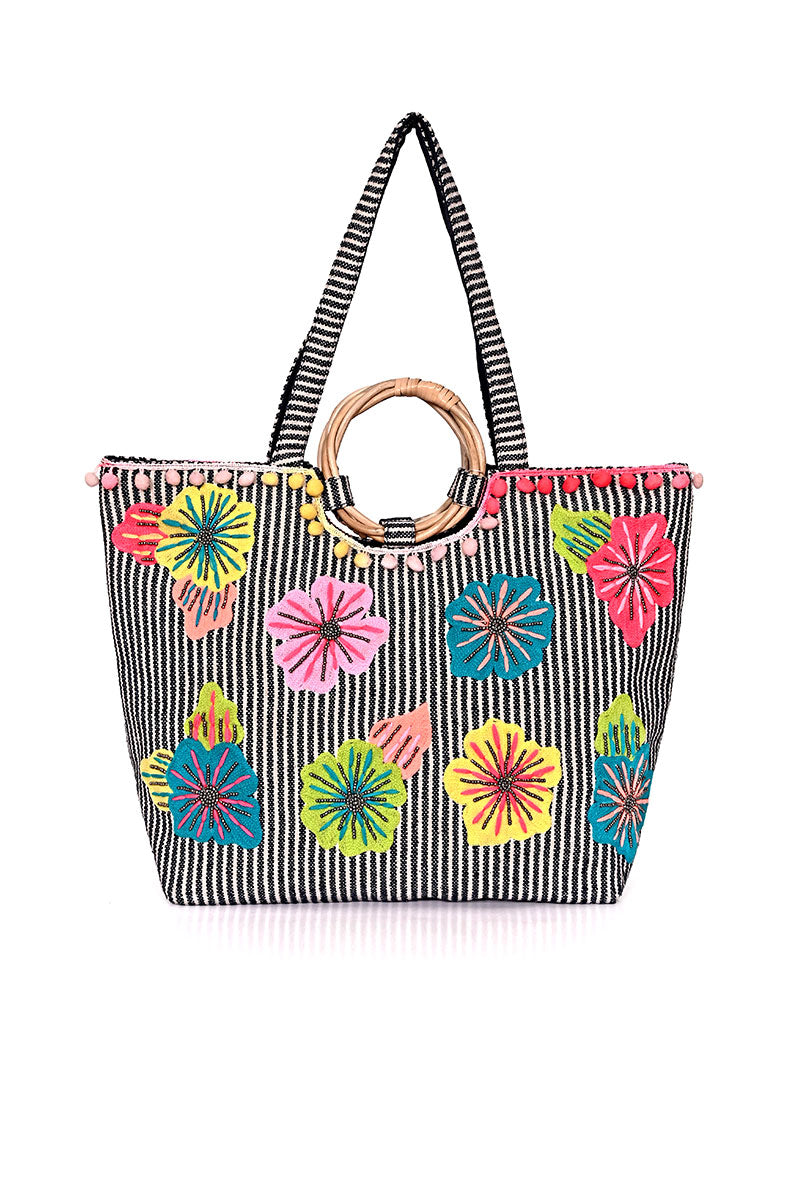 Fanciful Floral Stripe Tote