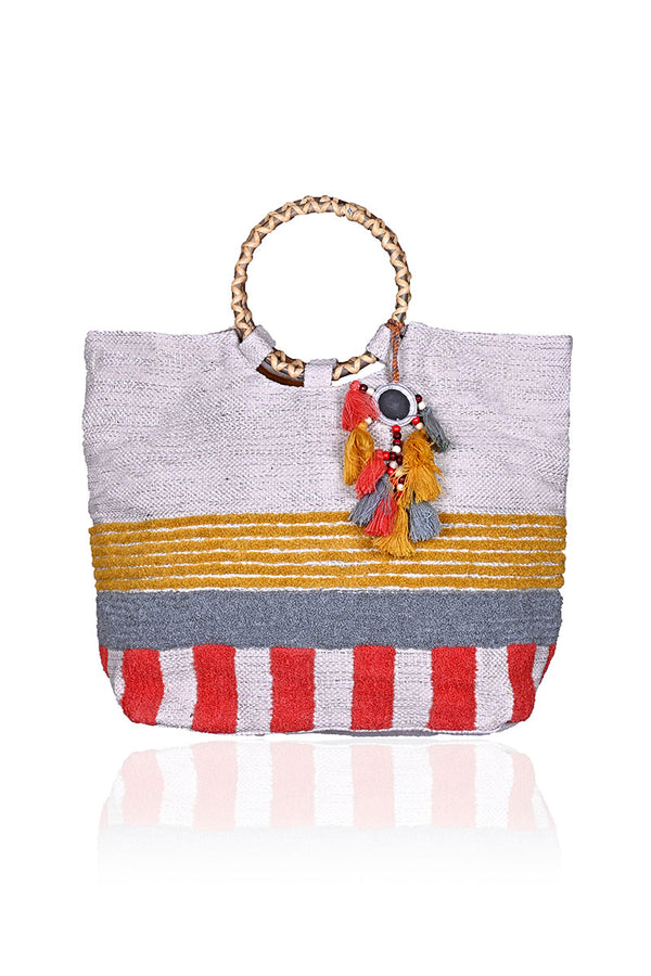 Canyon Sunset Tote with Wicker Handle
