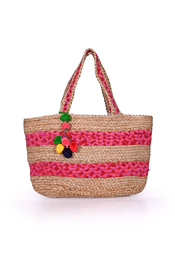 Natural Jute & Pink Cotton Stripe Tote