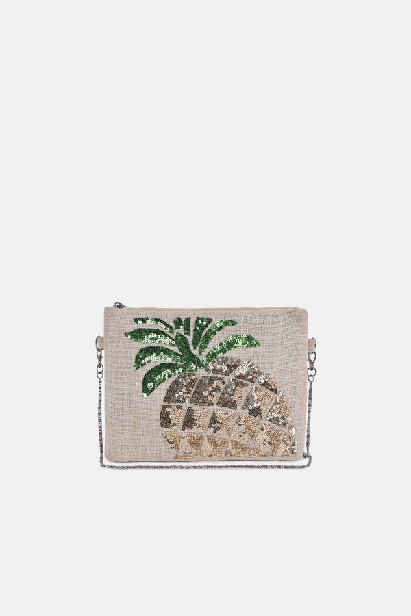 Frosted Pineapple Jute Clutch