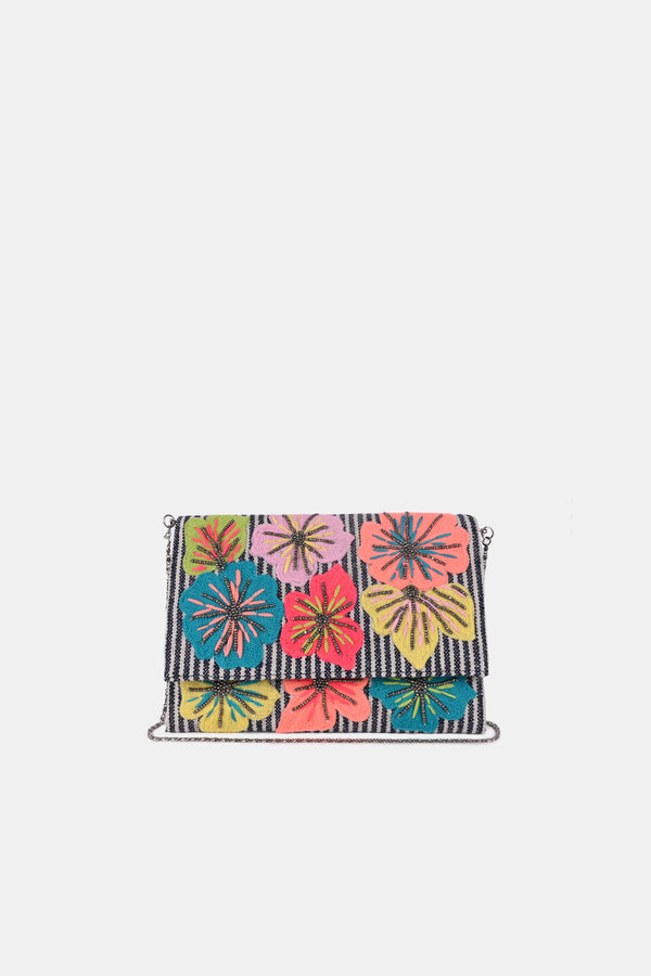 Floral Stripe Crossbody Boho-Chic Clutch