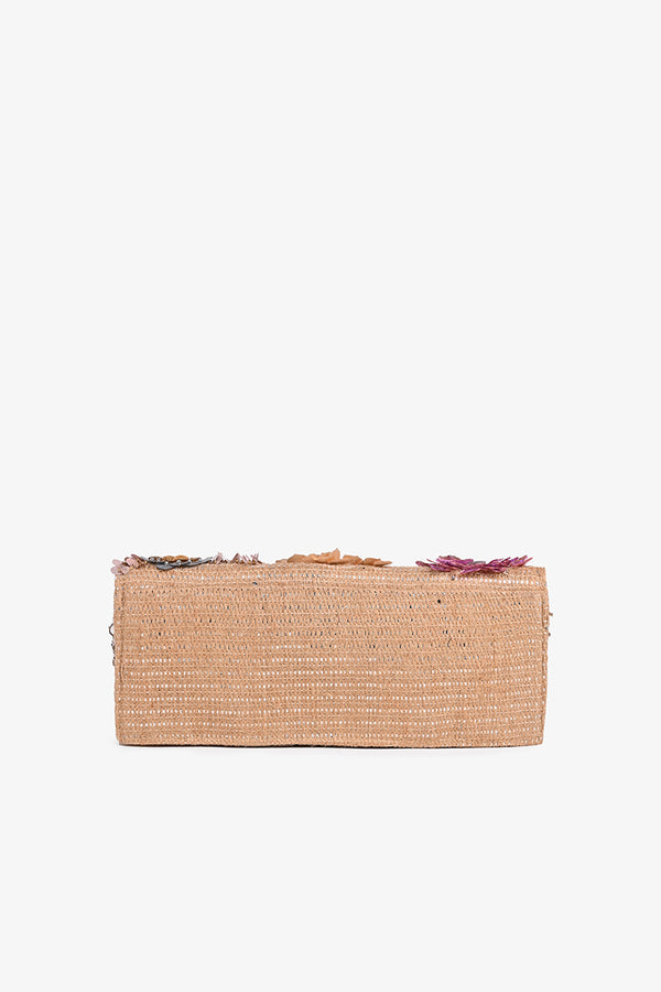 Cosmos Embellished Jute Clutch | Boho Style Clutches