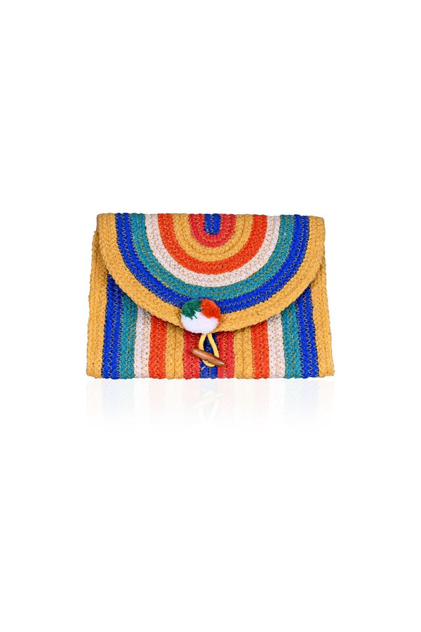 Rainbow Stripe Flap Clutch