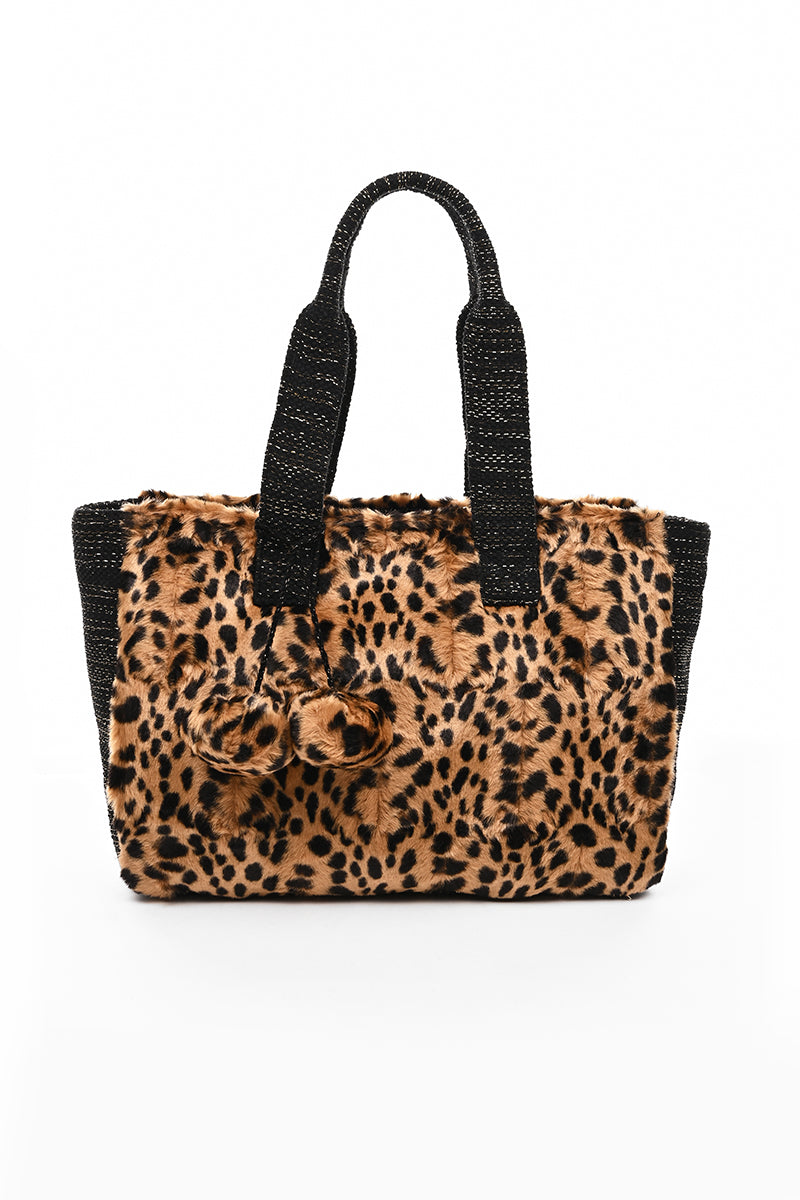 Faux Fur Fab Leopard Shoulder Bag