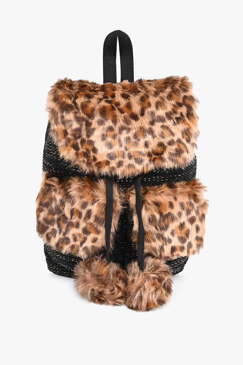 Faux Fur Fab Leopard Backpack