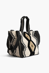 Whisper White Fringe Embroidered Three Way Tote