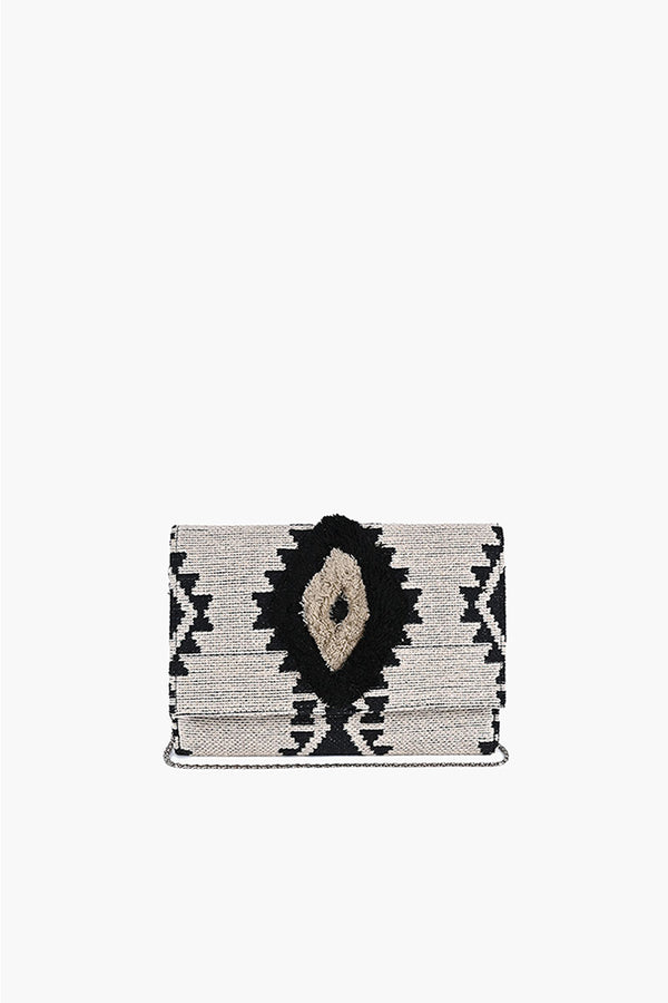 Whisper White Fringe Embroidered  Clutch