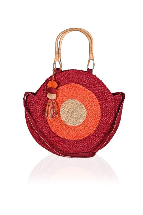 Burning Sun Cane Handle Round Jute Tote