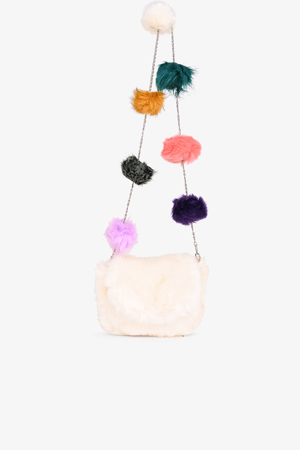 Snow White Faux Fur Pom Pom Bag