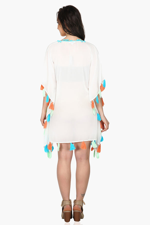White Kaftan Cover-up with Tassels