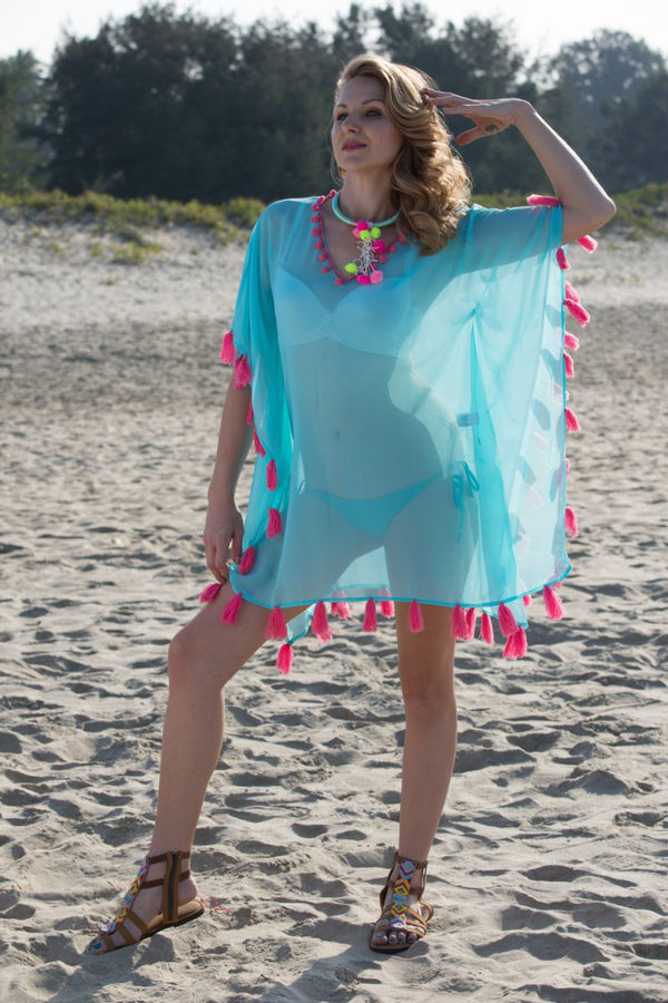 Sea Green Kaftan Cover-up with Tassels
