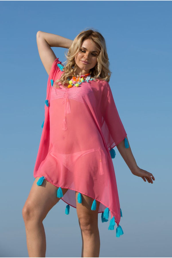 Coral Kaftan Cover-up with Tassels