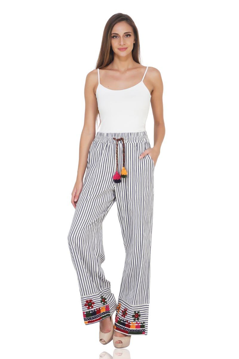 Indie Ink Striped And Embroidered Wide Leg Trousers