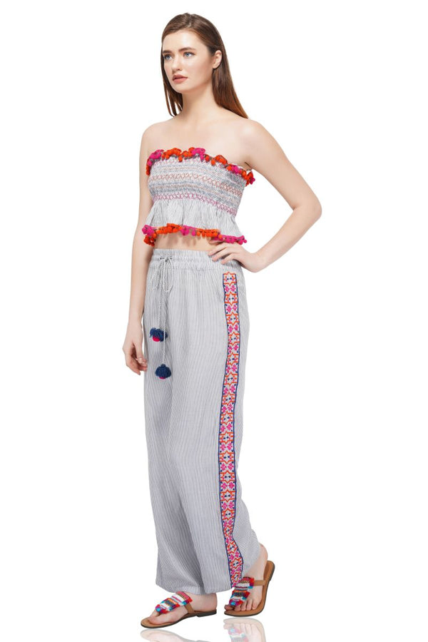 Splendid Striped Embroidered Pants