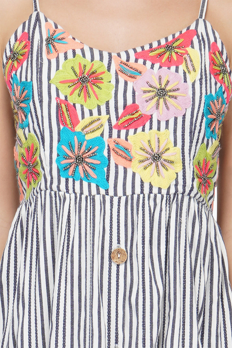 Floral Blast Nautical Dress | Hand Embroidery Boho Dresses