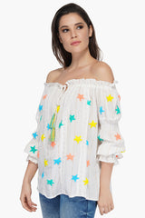 Rainbow Stars Off-The-Shoulder Blouse | Colorful Boho Style Blouse