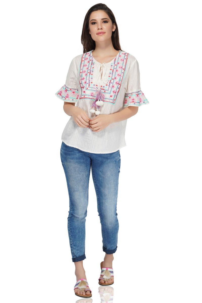 Zephyr Embroidered Top | White Boho Cotton Top