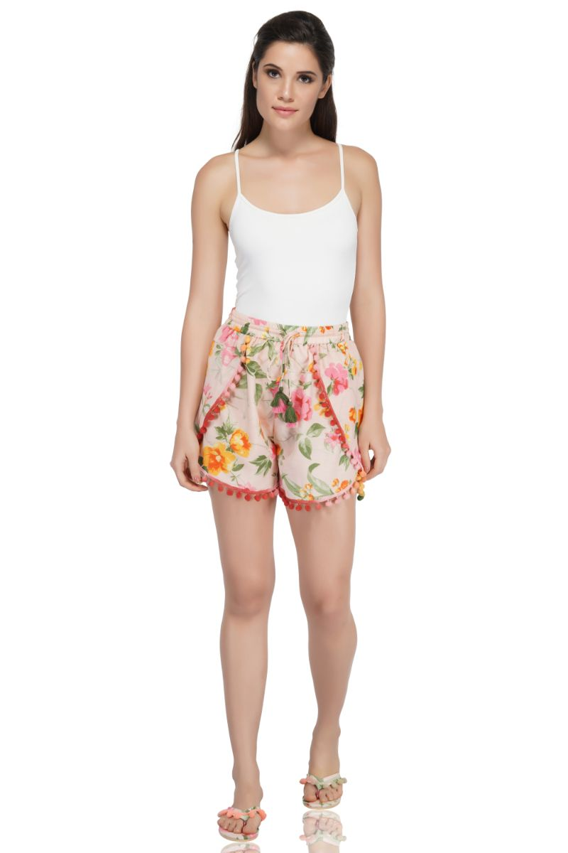 Amaryllis Shorts With Pom Pom Details