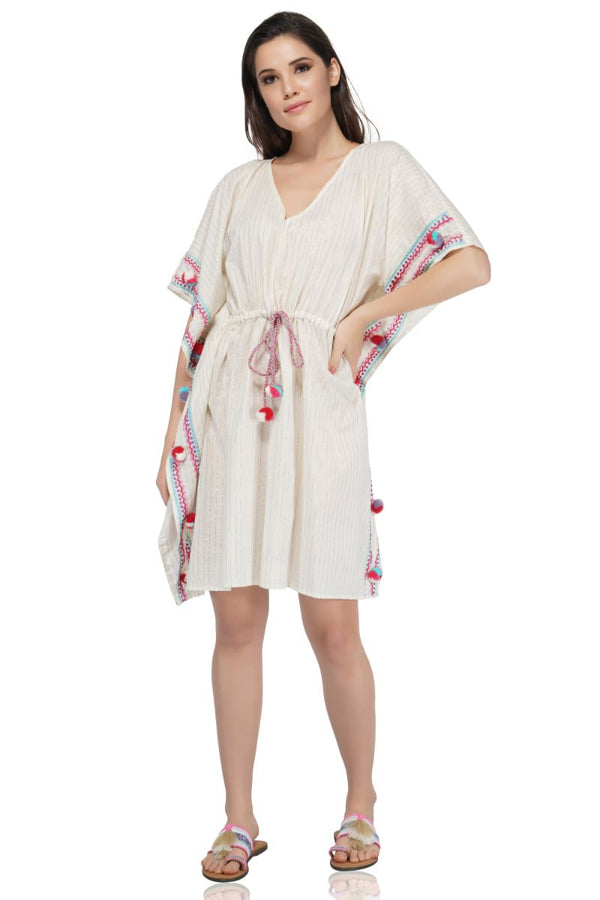 Zephyr Embroidered Kaftan With Pom Pom
