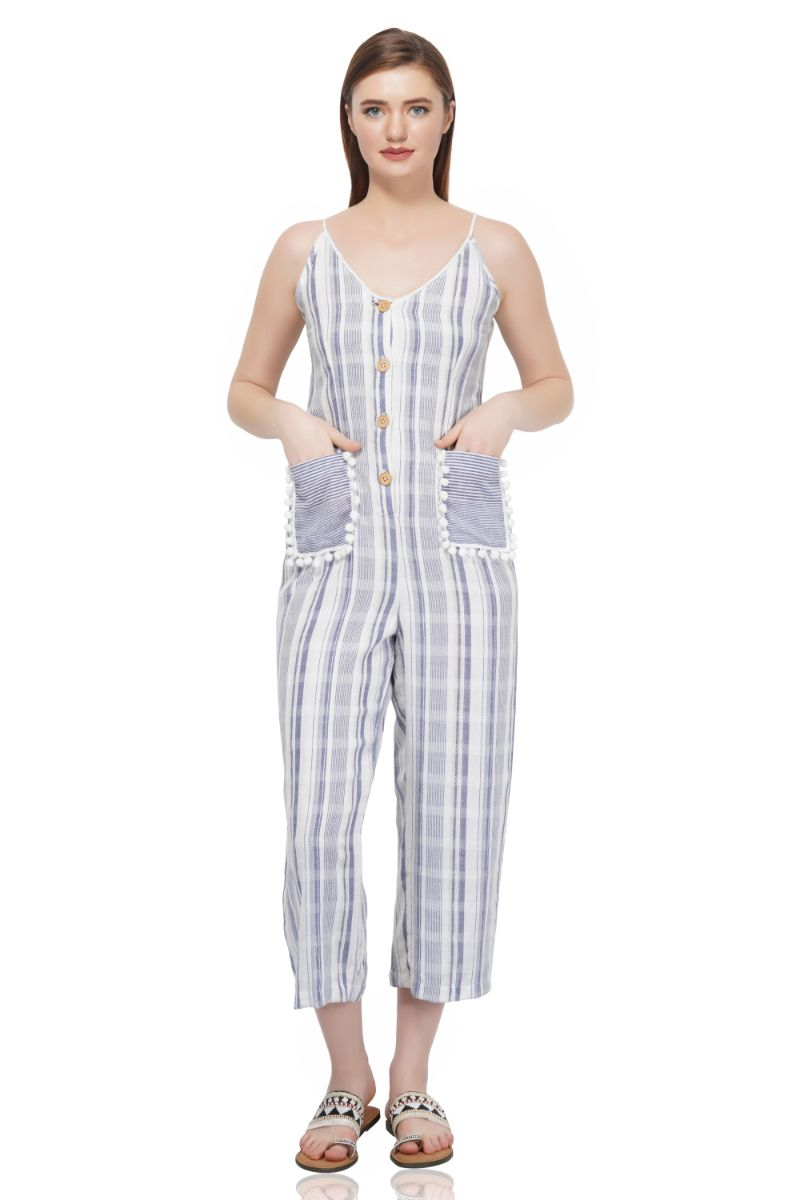 Stripe Jumpsuit With Pompoms