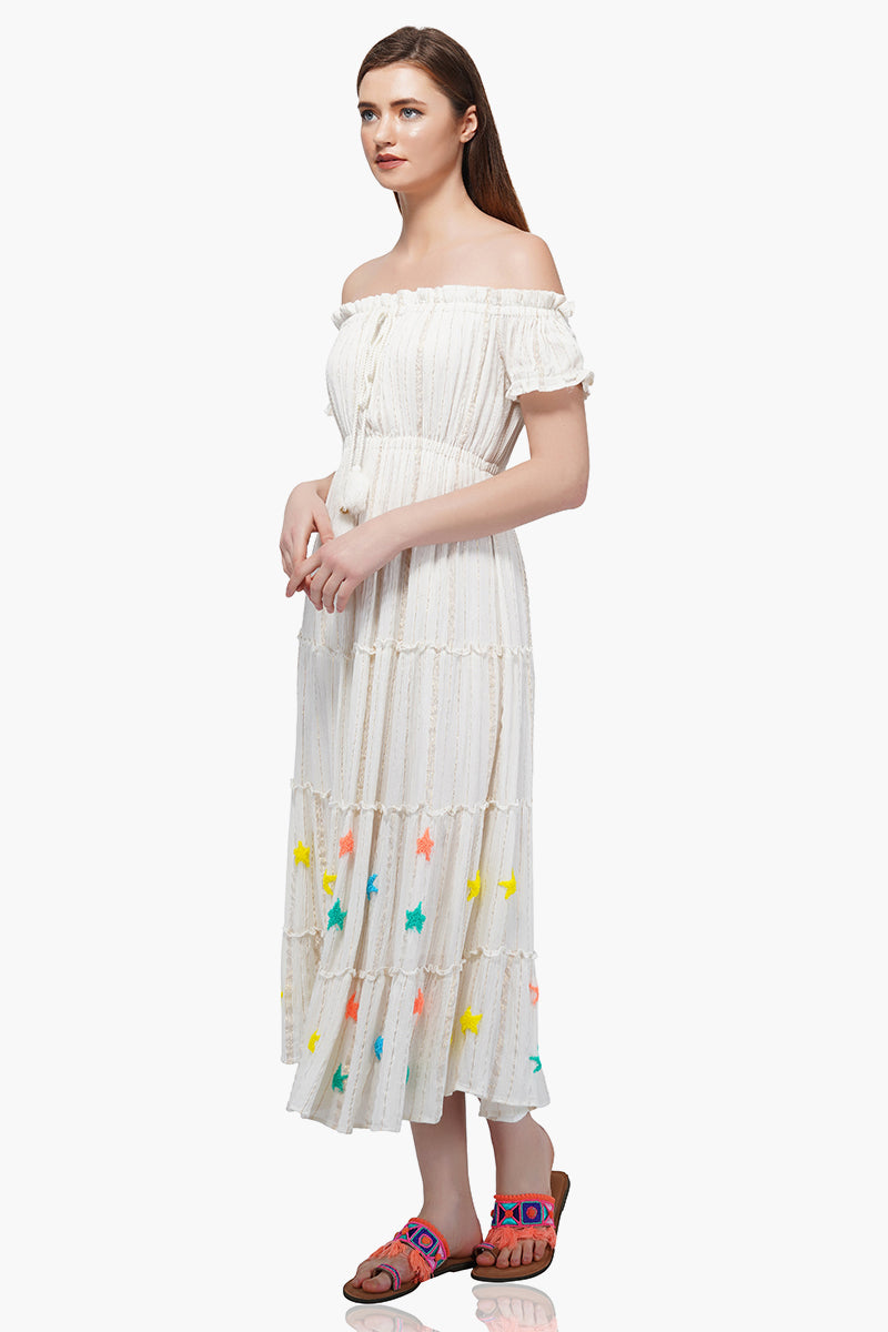 Rainbow Stars Off-The-Shoulder Dress
