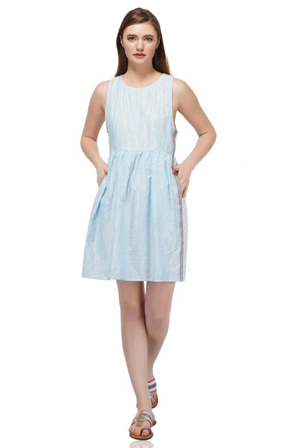 Baby Blue Lurex Striped Dress
