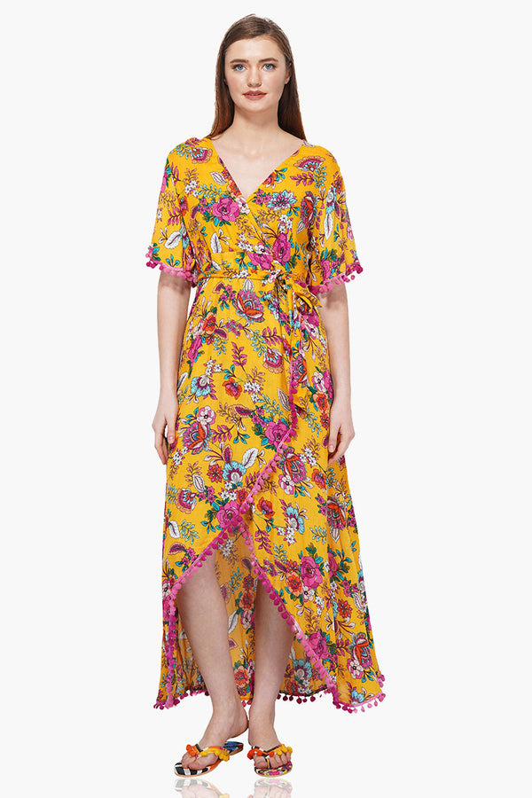 Old Gold Floral Printed Maxi Dress