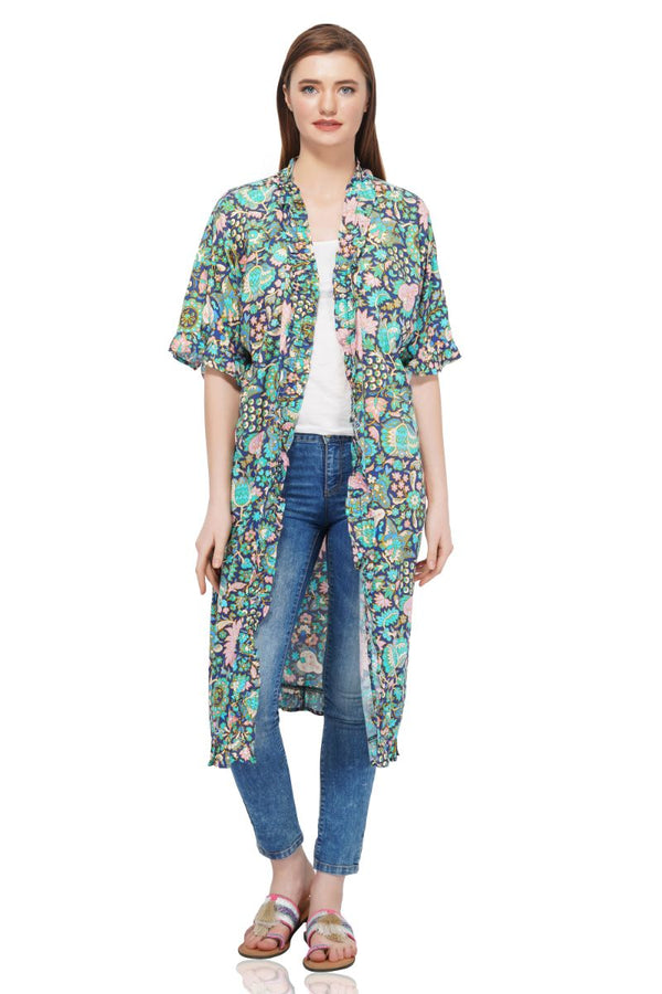 Blue Depth Floral Printed Frilled Kimono