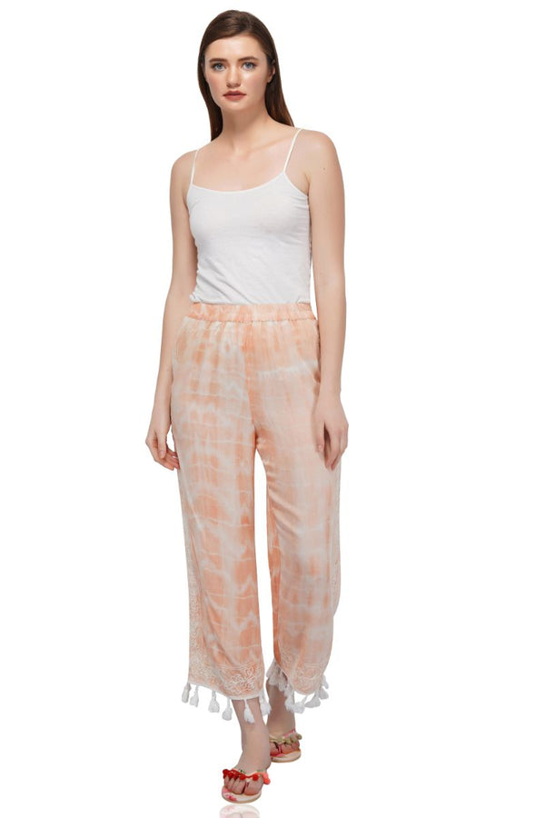 Peach Puree Embroiderd Trousers With Frindges Lace