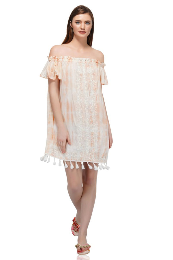 Peach Puree Embroiderd Off- The Shoulder Tunic Dress