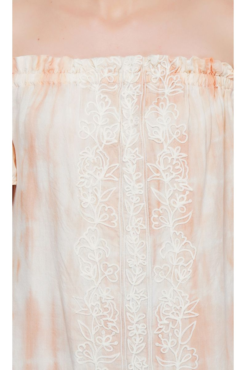 Peach Puree Embroidered Off- The Shoulder Tunic Dress
