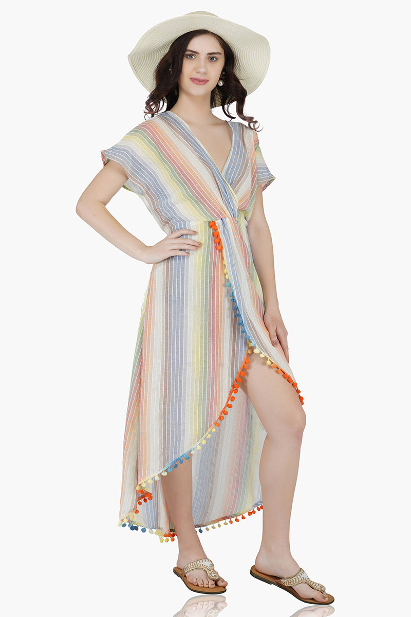 Rainbow Stripe Maxi Dress Cover-Up Featuring Ombre Pom Pom Detail