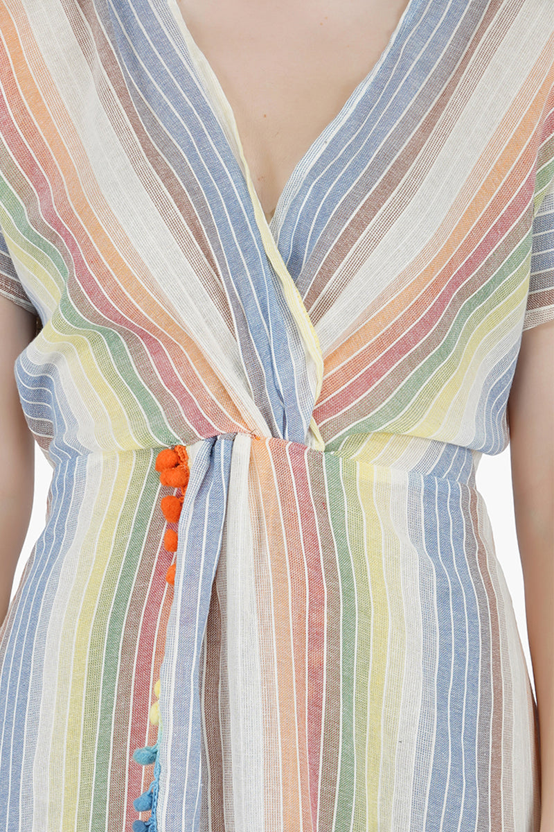 Rainbow Stripe Maxi Dress Cover Up