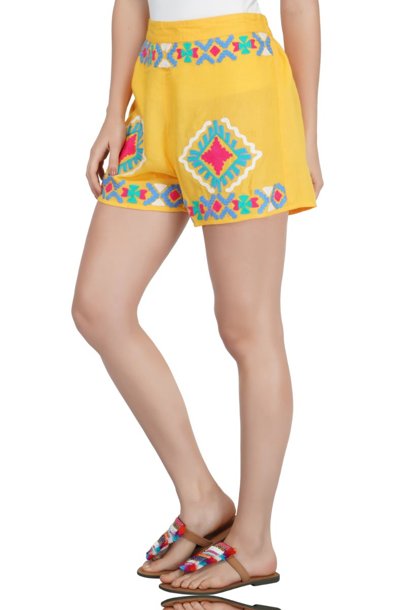 Gold Fusion Solid Embroidered Shorts
