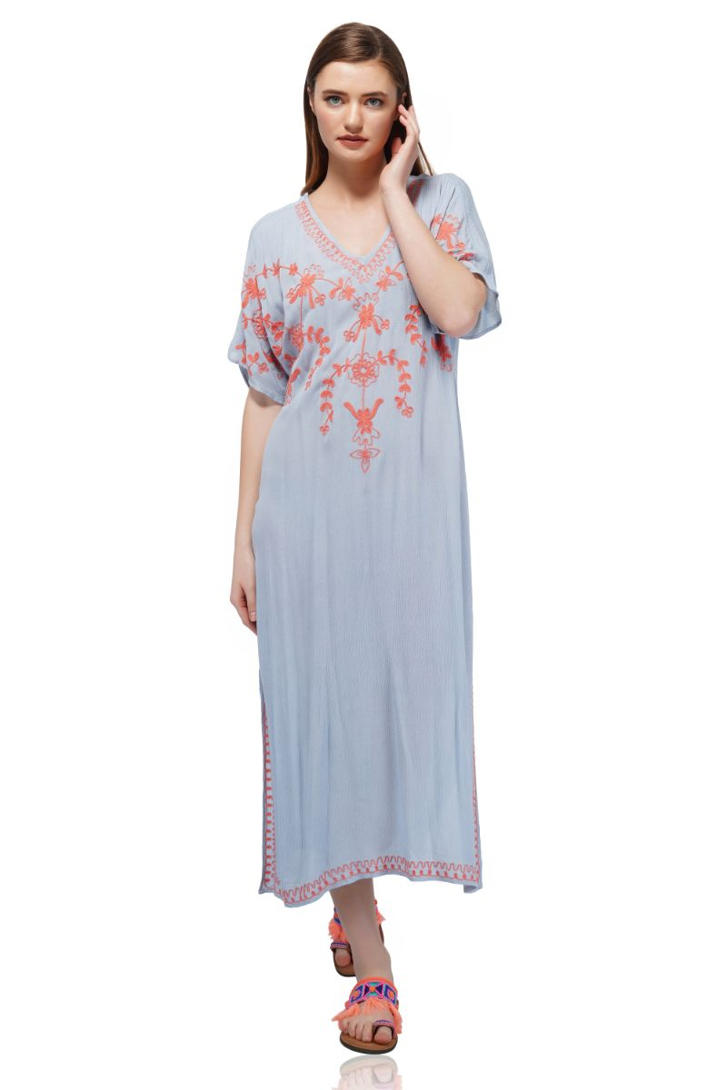 Powder Blue Embroidered Long Cover-Up