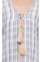 Stripe Embroidered Kaftan With Pom Poms