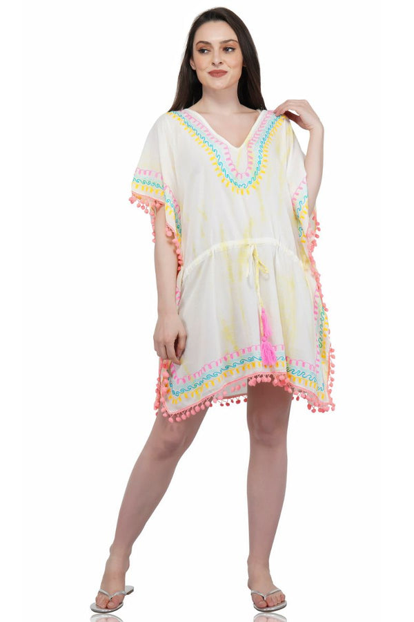 Banana Cream Embroidered Caftan