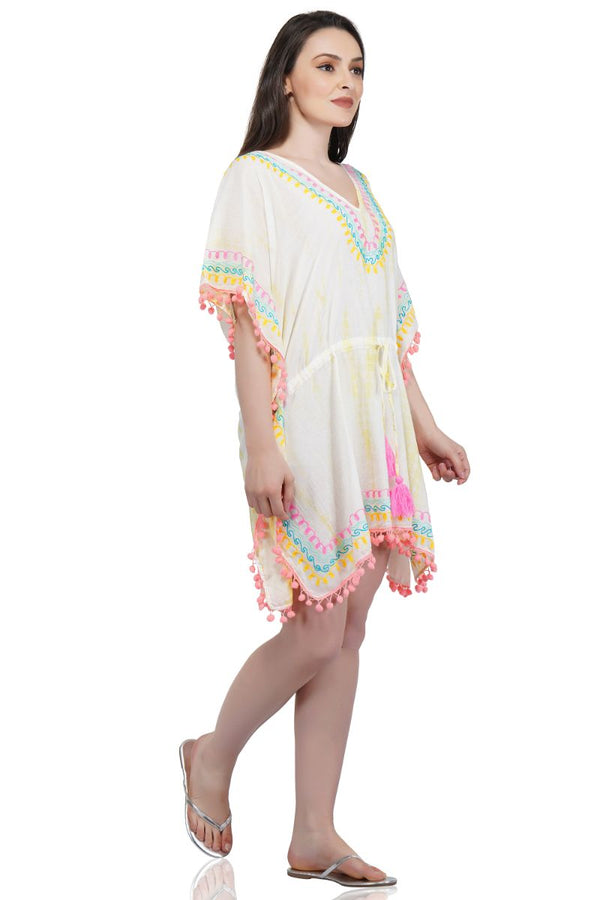 Banana Cream Embroidered Kaftan