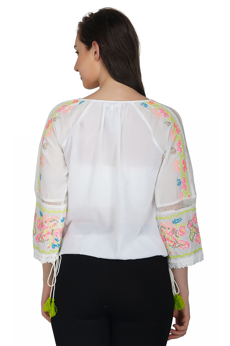Angel Embroidered Top