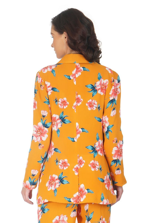 Gold Earth Floral Printed Blazer