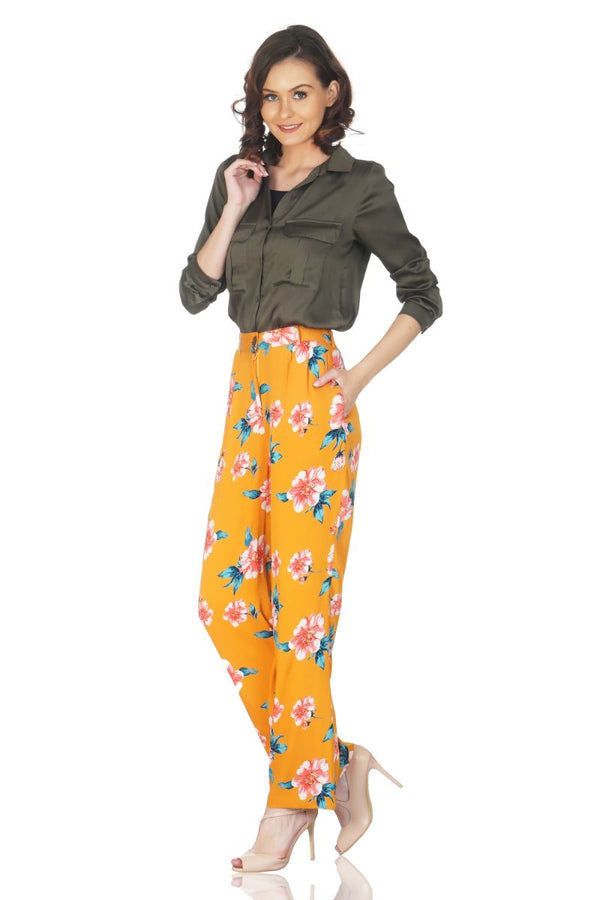 Gold Earth Floral Printed Trouser