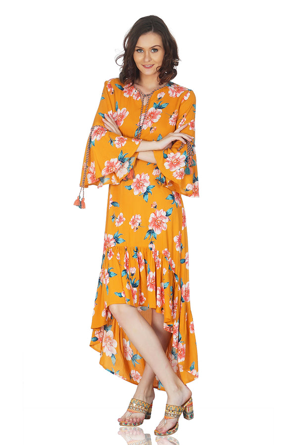 Gold Earth Floral Printed Maxi Dress