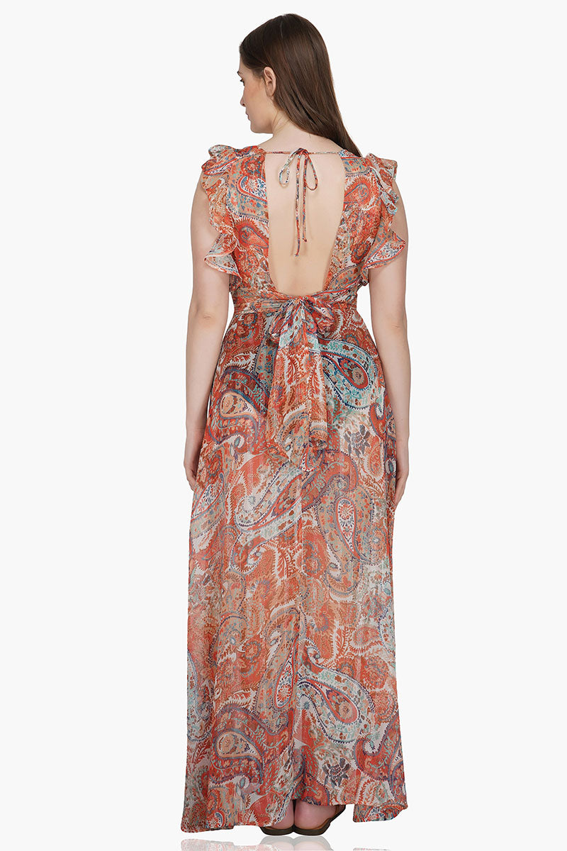 Moroccan Paisley Maxi Dress Cover-Up