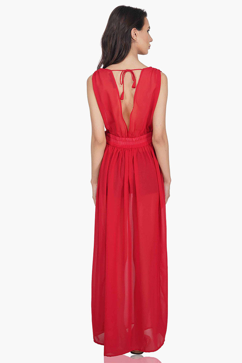 The Anya Sheer Maxi Dress Cover Up in Red
