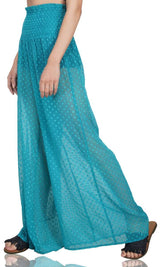 Peacock Green Flowy Beach Pants